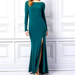 NWT Le Chateau Teal Knit Backless Gown XXL